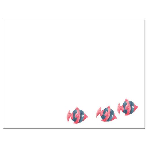 Under the sea Bat Mitzvah thank you card with ocean water, tropical fish, jellyfish and crab back