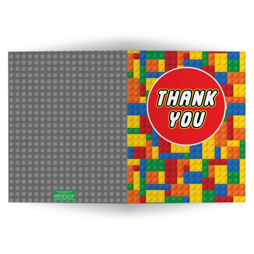 LEGO building blocks thank you card.
