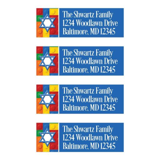 Colorful construction or building blocks pattern Bar or Bat Mitzvah return address mailing labels with blue and white Star of David