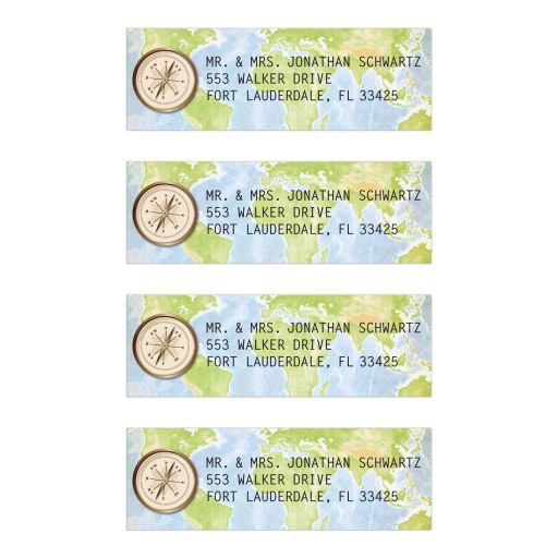 World Travel Compass Map Mailing Labels