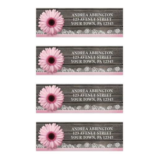 Address Labels - Pink Daisy Lace Rustic Wood