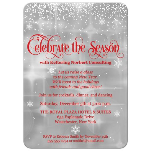 """Celebrate the Season"" falling snow corporate or business holiday or Christmas party invitation in red, white and silver grey."