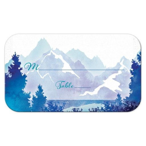 Royal blue and turquoise watercolor painting style mountain wedding place card