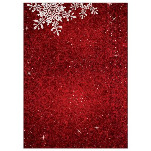 Red and white simulated velvet snowflake Christmas holiday or corporate winter party invitation back