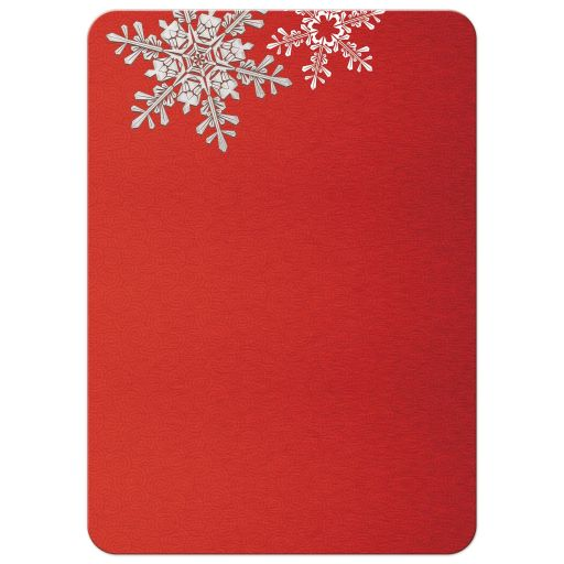 red and silver snowflake winter wedding invitation back