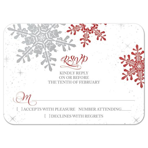 Red, silver grey and white snowflake winter wedding rsvp card front