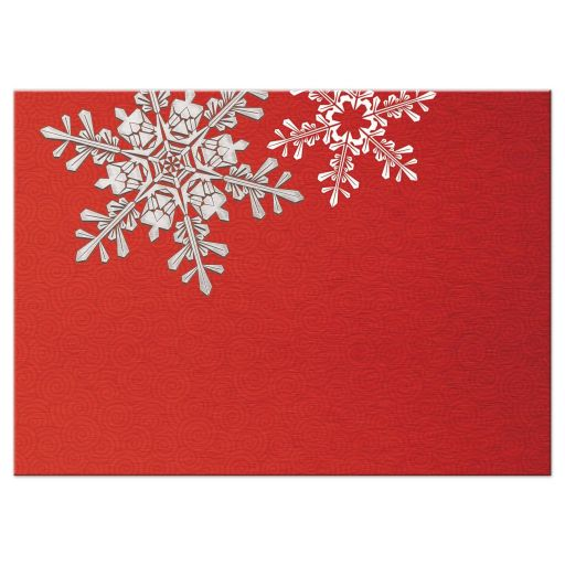 Red, silver grey and white snowflake winter wedding rsvp card back