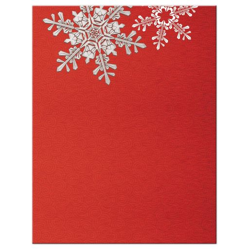 Red, silver gray and white snowflake winter wedding save the date card back