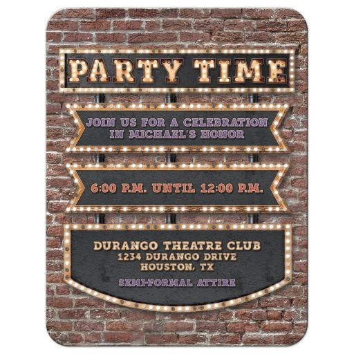 Vintage marquee lights Bar Mitzvah reception card - hollywood, broadway, red carpet