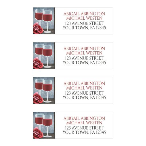 Address Labels - Red Wine Glasses Floral Rose