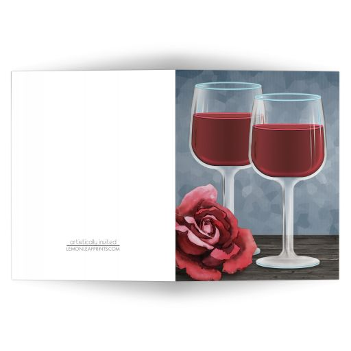 Note Cards - Red Wine Glasses Floral Rose
