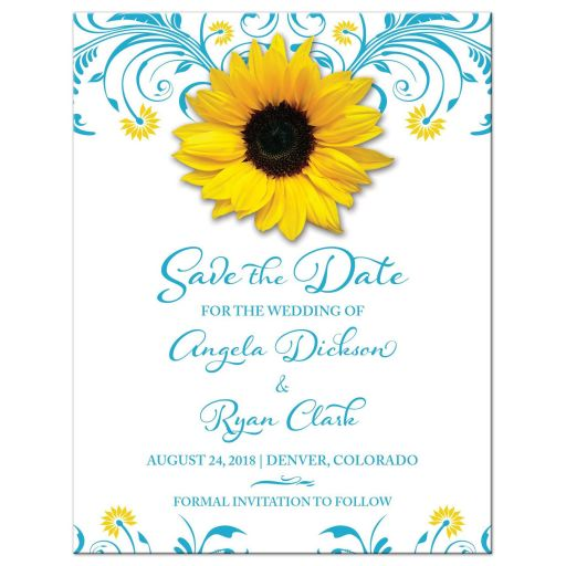 Malibu blue yellow floral sunflower wedding save the date announcement