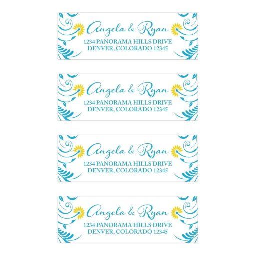 ​Elegant malibu blue and yellow floral personalized wedding address labels