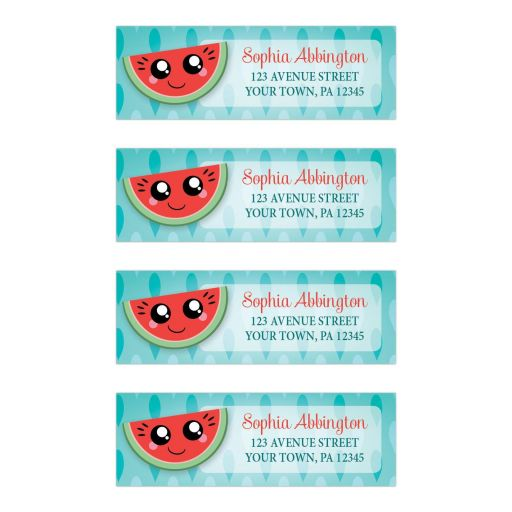 Address Labels - Smiling Watermelon Slice Turquoise
