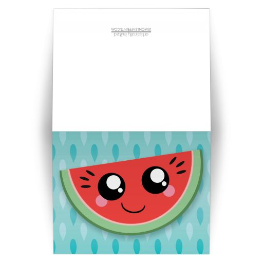 Note Cards - Smiling Watermelon Slice Turquoise