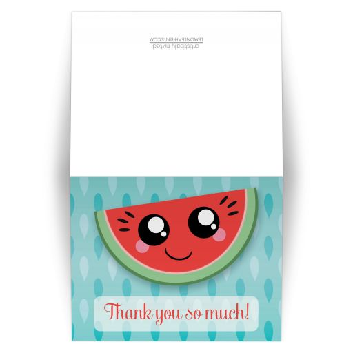 Thank You Cards - Smiling Watermelon Slice Turquoise