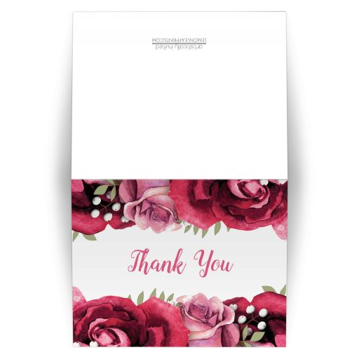 Thank You Cards - Burgundy Pink Rose White Rustic