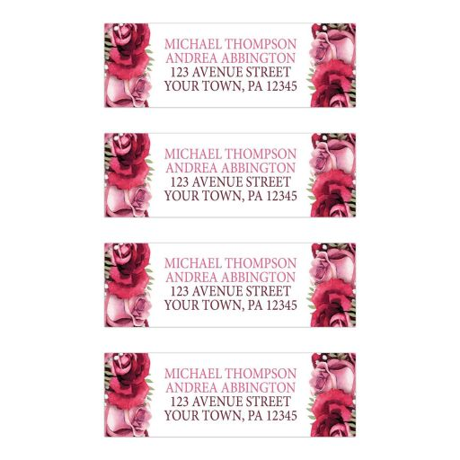 Address Labels - Burgundy Pink Rose White Rustic