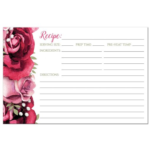 Recipe Cards - Burgundy Pink Rose White Rustic 4x6