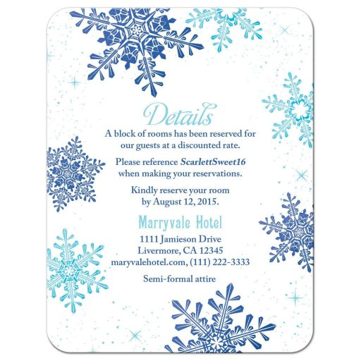 Turquoise and royal blue snowflake  winter wonderland sweet 16 accommodations details card front