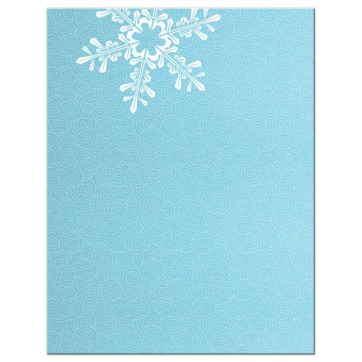Turquoise and royal blue snowflake  winter wonderland sweet 16 accommodations details card back