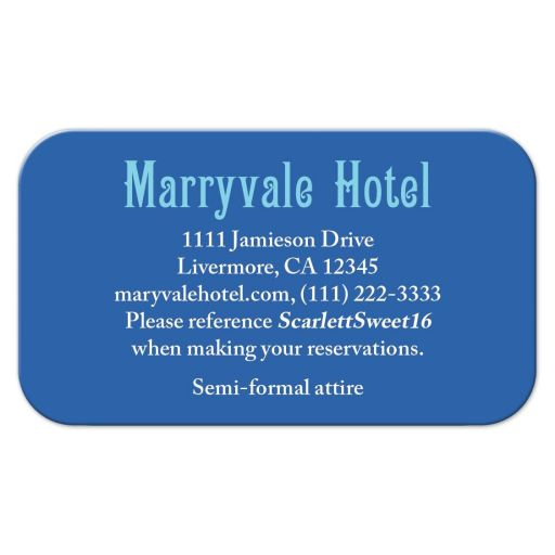 ​Simple royal blue and turquoise accommodations card