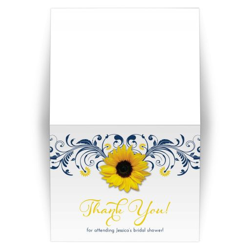 Navy blue and white floral, yellow sunflower elegant bridal shower thank you card
