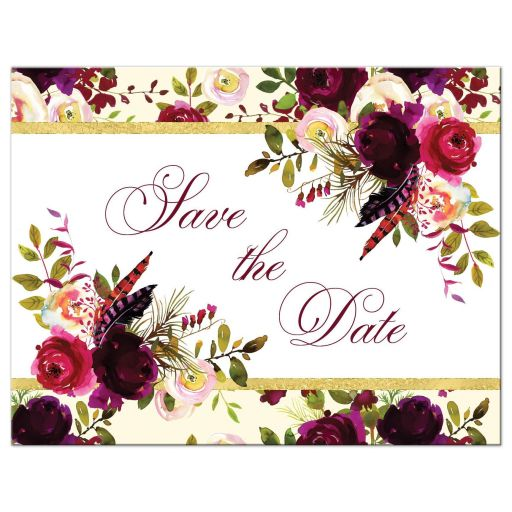 ​Burgundy, cream, white, gold watercolor flowers and feathers save the date card.
