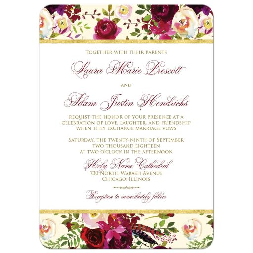 Burgundy, cream, white, gold watercolor flowers and feathers wedding invitations for bohemian wedding.