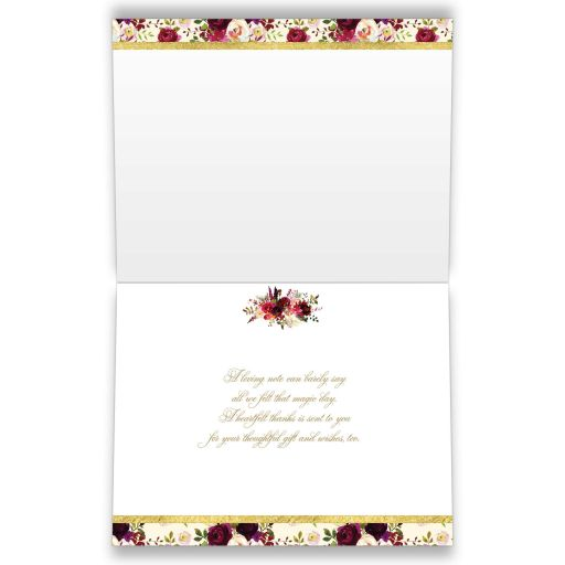 Burgundy, cream, red, white, gold watercolor flowers and feathers photo template wedding thank you card for elegant bohemian wedding.