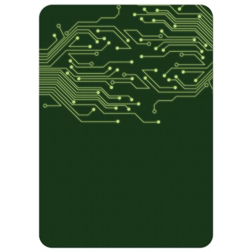 Green computer circuit board Bar Mitzvah invitation for computer, high tech, robotics, or electronics back