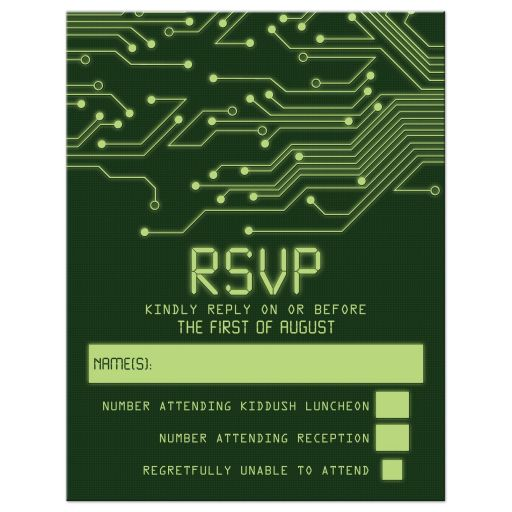 Green computer circuit board Bar Mitzvah rsvp card for computer, high tech, robotics, or electronics front