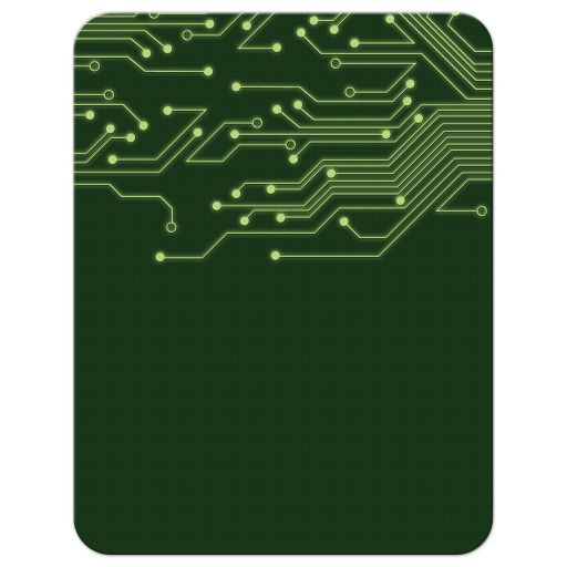 Green computer circuit board Bar Mitzvah rsvp card for computer, high tech, robotics, or electronics back