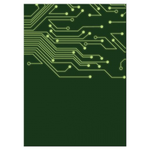 Green computer circuit board Bar Mitzvah reception insert card for computer, high tech, robotics, or electronics back