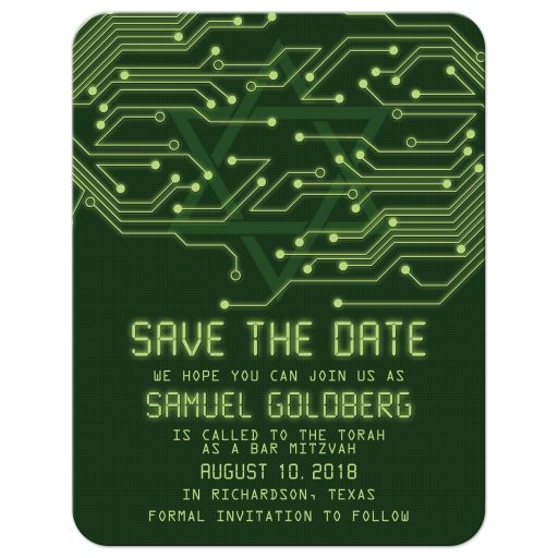 Green computer circuit board Bar Mitzvah save the date for computer, high tech, robotics, or electronics front