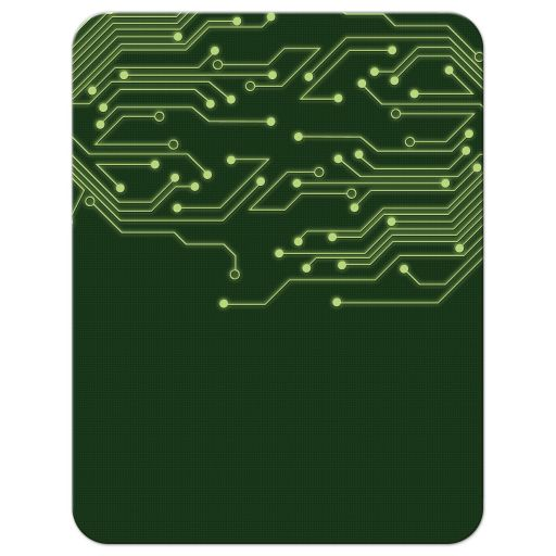 Green computer circuit board Bar Mitzvah save the date for computer, high tech, robotics, or electronics back