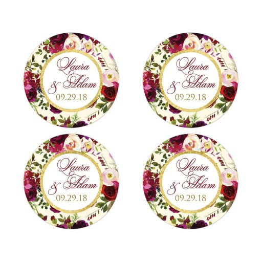 Burgundy, cream, white, gold watercolor flowers and feathers wedding favor sticker or envelope seals for elegant bohemian wedding.