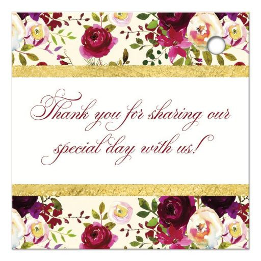 """2.5"""" square burgundy, cream, white, gold watercolor flowers and feathers wedding favor tags for elegant bohemian wedding."""