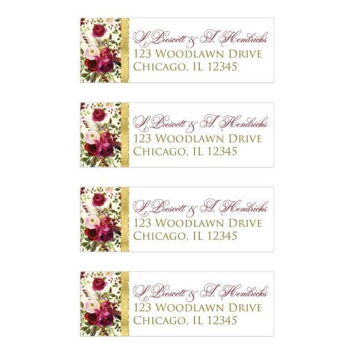 Burgundy, cream, white, gold watercolor flowers and feathers wedding address labels for elegant bohemian wedding.