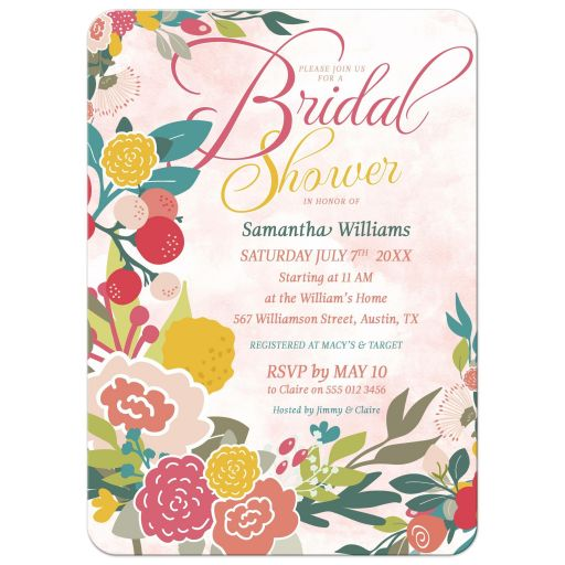 Woodlands Flowers Bridal Shower • Teal and Pink Invitations