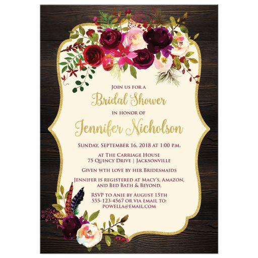 Rustic wood burgundy, aubergine, ivory watercolor flowers and feathers bridal, wedding, or couple's shower invitation for an elegant autumn wedding.