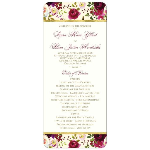 Burgundy, yellow, cream, white, gold watercolor floral​ wedding program or Order of Service with feathers and gold foil.