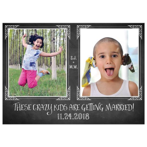 Crazy kids photo template chalkboard wedding save the date card.