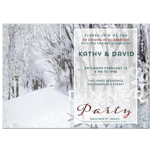 Snowy Winter Wedding Baby Shower Invitation