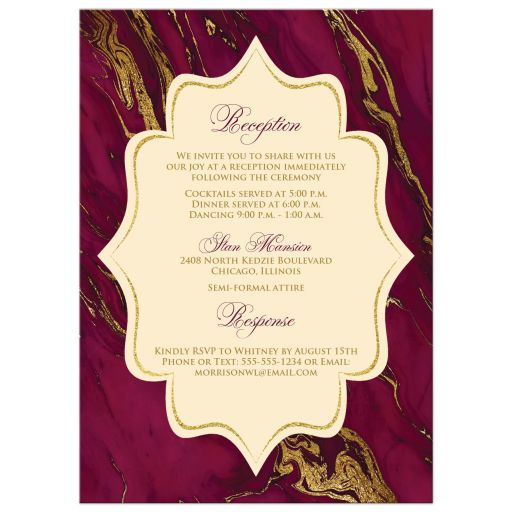 Burgundy, ivory cream, and gold simulated marble wedding invitation.