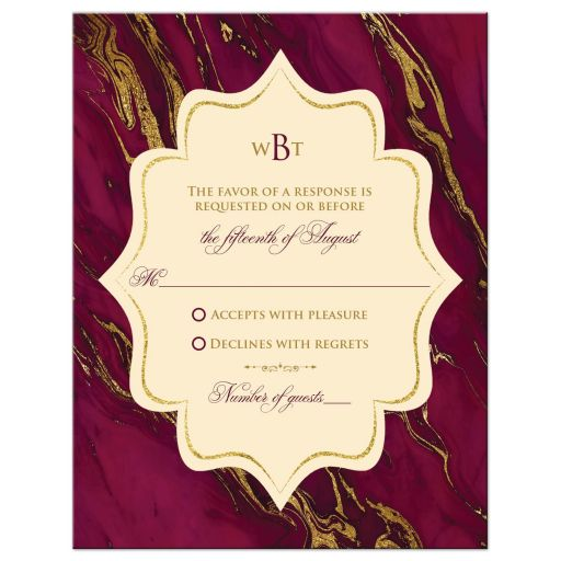 Monogrammed burgundy, ivory cream, and gold simulated marble wedding response enclosure card insert.