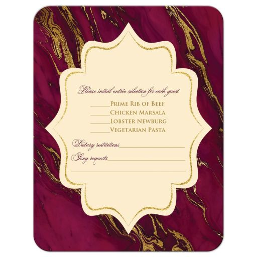 Monogram burgundy, ivory cream, and gold simulated marble wedding RSVP enclosure cards.