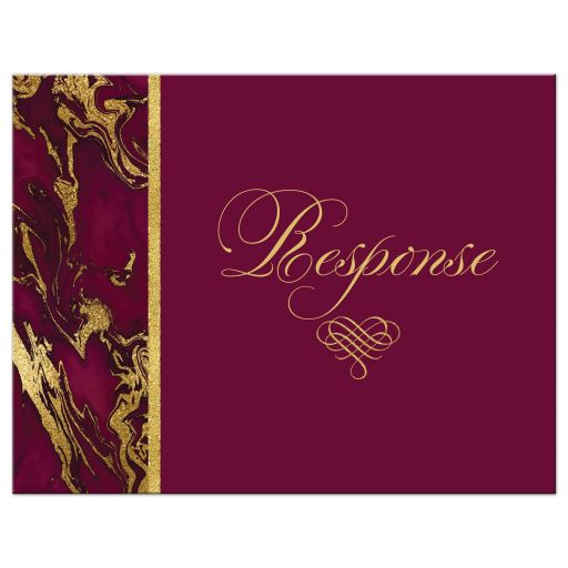 Burgundy, ivory, and gold simulated marble wedding response enclosure card insert with ornate heart scroll ornament.