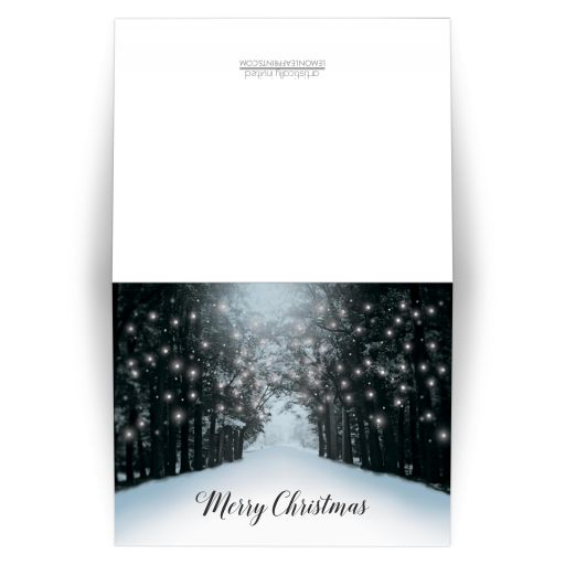 Christmas Cards - Winter Snowy Road Tree Lights 'Merry Christmas'
