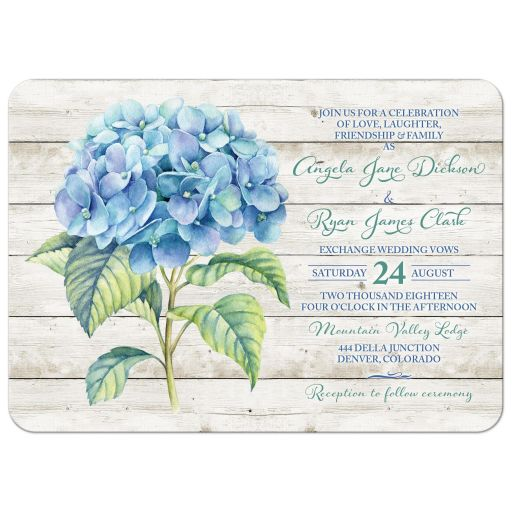 Rustic blue hydrangea flower wedding invitation front